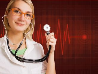 Banner Photo of Doctor With Stethoscope and Heart Rate Background